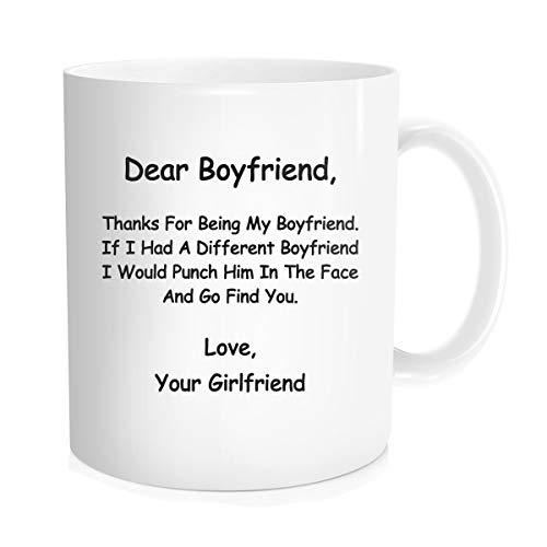 Waldeal Boyfriend Gift - Dear Boyfriend Thanks for Being My BF Coffee Mug, Funny Anniversary Birthday Gift for Him Lover Couples, White Fine Bone Ceramic 11 OZ