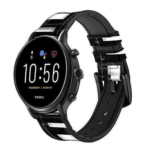 Innovedesire Black and White Piano Keyboard Smart Watch Armband aus Leder für Fossil Hybrid Smartwatch Nate, Hybrid HR Latitude, Hybrid Smartwatch Machine Größe (24mm)