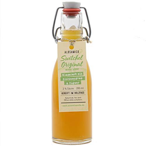 Switchel Ingwer-Essig-Sirup aus Apfelessig, Ingwer, Zitronengras und Honig. Im Holzfass gereift zum Mischen mit Wasser oder als leckerer Cocktail