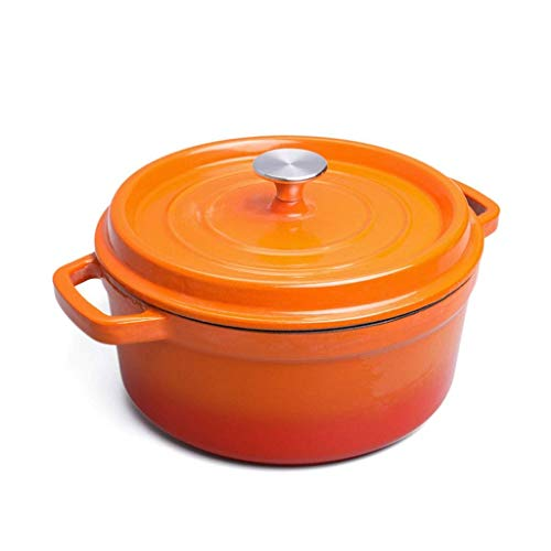 AGGF Dutch Oven Casseruola a Fiamma Smaltata in ghisa da 26 cm, Rotonda con Coperchio, Multicolore (Colore: Arancione)