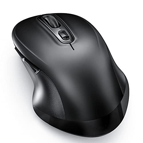 Bluetooth Maus Kabellose, Ergonomische Maus Leise Dual Mode Funkmaus Bluetooth 2,4 GHz USB Verbindung Wireless Computermaus 1000/1600/2400 DPI Kompatibel für Laptop iPad iPhone Android Mac PC Tablet