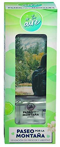 A tu aire   Ambientador en Sticks  Varitas Ambientadoras  Fragancia Paseo por la Montaña  Duración 6-8 semanas  Contenido: frasco cristal 65 ml perfume + 7/8 varitas.