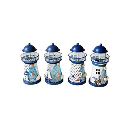 Supvox 4 Stücke Mini Leuchtturm Teelichthalter LED Eisen Kerzenhalter Maritime Mittelmeer Deko Teelicht Kerzenständer für Wohnzimmer Tischdeko Micro Landschaft Dekoration