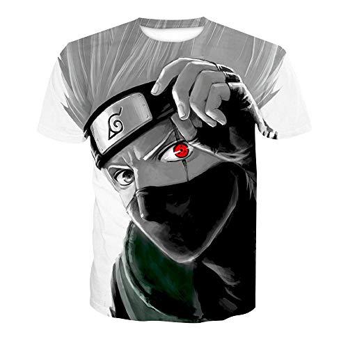 Camiseta de manga corta con estampado digital de Naruto Kakashi para hombre