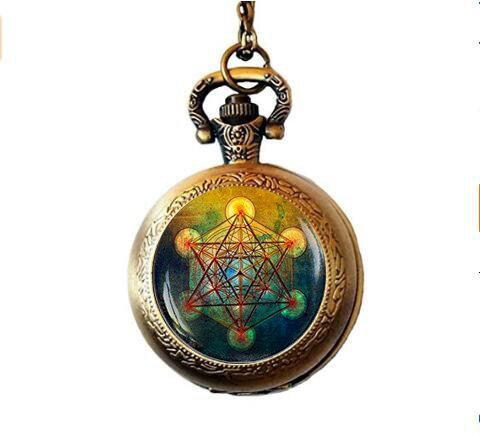 qws Metatron's Cube Pocket Watch Necklace, Sacred Geometry Jewelry, Metatrons Cube, Geometric Pocket Watch Necklace, Jewelry for Men