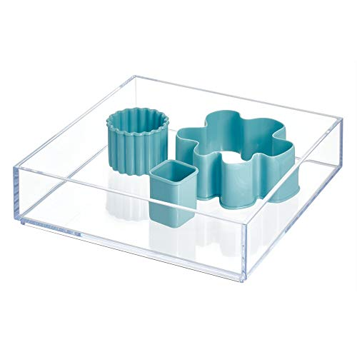 "iDesign Clarity Kitchen Drawer Organizer for Silverware, Spatulas, Gadgets - Medium, 8"" x 8"" x 2"", Clear"