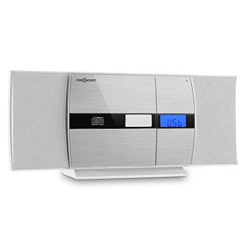 oneConcept V-15 Stereoanlage Kompaktanlage Microanlage (MP3-fähiger CD-Player, Aluminium-Blende, LCD-Display, USB, AUX-IN, UKW, Wecker, Fernbedienung, Wandmontage) weiß-Silber