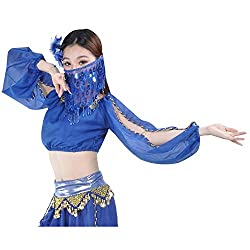 Nave Blue Sequin Beaded Belly Dance Face Veil