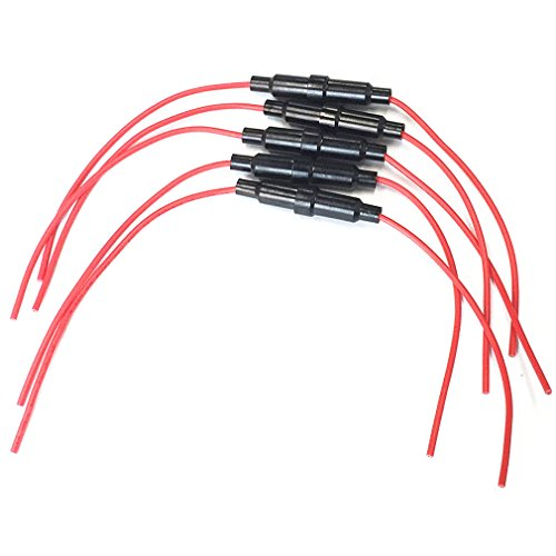 Qiorange 5 Stück Schraubentyp 20 AWG Draht Inline Sicherungshalter für 5 x 20 mm & 6 x 30 mm Feinsicherung Glassicherung (Fuse Holder 20AWG Draht)