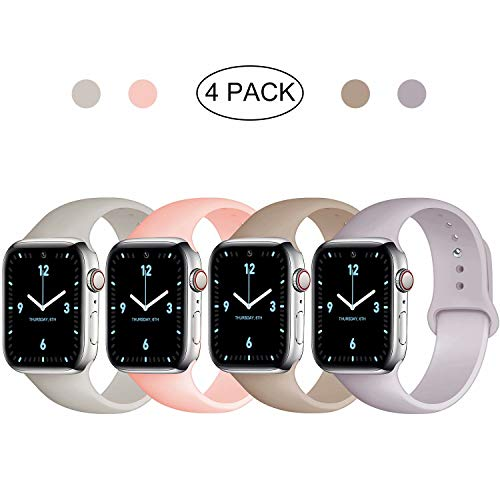 QIENGO 4 Pack Sport Bands Compatible with Apple Watch 38mm 40mm S/M, Soft Silicone Replacement Strap Compatible with iWatch Series 5/4/3/2/1