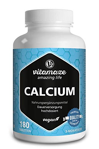 Calcium Tablets Vegan & High Strength, 180 Tablets for 3 Months, 800 mg Calcium Carbonate per Daily Dose, Organic Food Supplement Without Additives