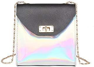 Gimax Top-Handle Bags - Osmond Laser Small Mini Flap Bag Women Messenger Bags Chain Luxury Holographic Handbags Women Bags Designer Crossbody Bags Sac - (Color: Black)