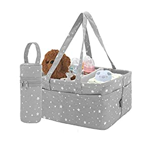 MorNon Baby Diaper Caddy Organizer Baby Shower Basket Storage Bin with Bottle Bag Car Organizer for Diapers and Baby Wipes