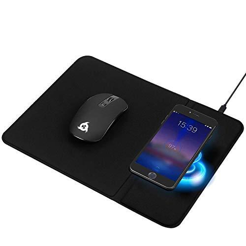 KLIM Inspiration + Makepad - Kabellose Maus und Mauspad mit Wireless Charger + Ergonomische Maus für PC Laptop Mac + Ladestation kompatibel mit iPhone Samsung Huawei LG und mehr + NEU 2021