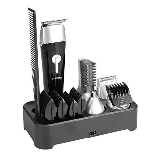 Bartschneider kit SUPRENT Bart Trimmer Herren IPX7 Wasserdicht 5 in 1 Profi Barttrimmer Elektrisch multifunktionales für Körper Bart und Gesichtshaartrimmer Nasenhaarschneider Präzisionsschneider