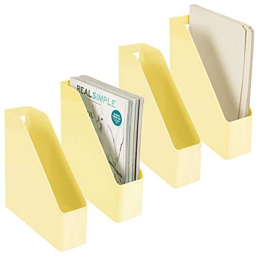 mDesign 4er-Set Stehsammler für Zeitschriften, Akten oder Umschläge – Zeitschriftenhalter aus Kunststoff mit Griff – vertikales Ordnungssystem für den Schreibtisch – hellgelb