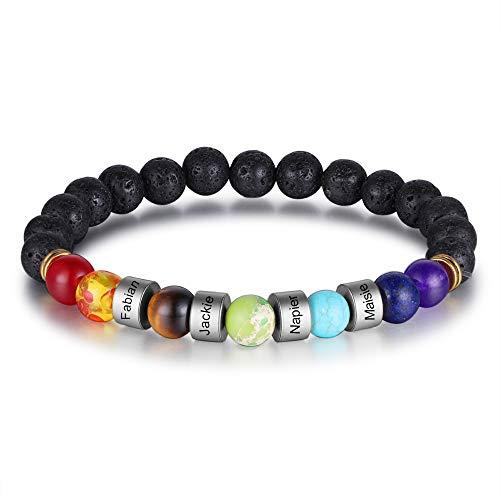 JewelOra Pulsera para Hombre Pulseras Personalizadas con Brazalete de Cuentas de Colores Pulsera Ancha con Grabado 4 Nombres Amistad Regalos Familiares Pulsera con dijes (Black&Silver Beads)
