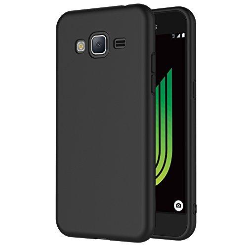 AICEK Cover per Samsung Galaxy J3 2016, Cover Galaxy J3 2016 Nero Silicone Case Molle di TPU Sottile Custodia per Samsung Galaxy J3 2016