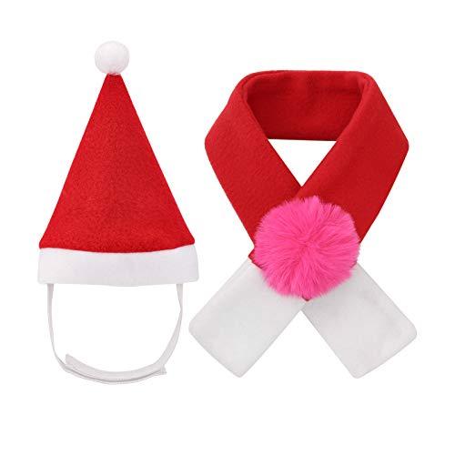 QKURT Disfraces de Navidad para mascotas, gorro de Papá Noel, bufanda para gatos y cachorros, disfraz de mascota Día de Acción de Gracias de Navidad, Año Nuevo