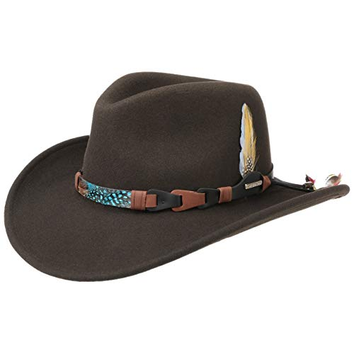 Stetson Kingsley VitaFelt Western hat Men - Water-Repellent Wool Felt hat - Cowboy hat Made in The USA - Packable Wool Felt hat - Summer/Winter rain hat Dark Brown M (7-7 1/8)