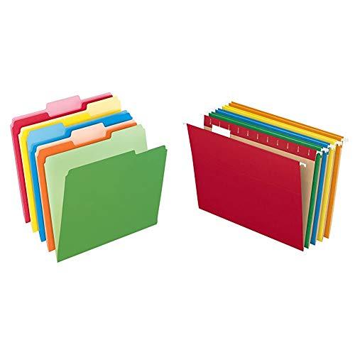 Pendaflex Two-Tone Color File Folders, Letter Size, Assorted Colors, 1/3 Cut, 100 per box & Hanging File Folders, Letter Size, Assorted Colors, 1/5-Cut Adjustable Tabs, 25 Per Box (81663)