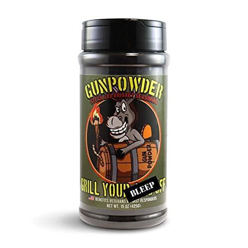 GYAO Gunpowder - BBQ Rub - Award Winning BBQ & Grill Seasoning for Beef, Steak, Burgers, Pork & Chicken - Dry Rub - No MSG or Gluten - 100% Veteran Owned - USA Made - 15oz
