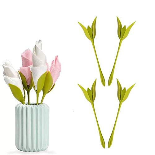 Zonfer Blatt Blume Serviettenhalter Für Tische, Set Von 8 Green Stemmed Kunststoff Twist Flower Buds Serviette Halter