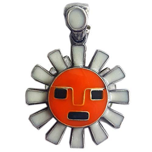 East Gate Sonne Anhänger mit Einer Kette Azteca Alma Azteken, Durchmesser: 2,5 cm