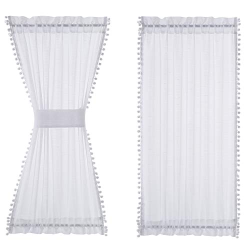 """Treatmentex White French Door Curtain with White Pompoms Decorative Short Front Door Window Curtain Panel 52"""" w x 40"""" L 1pc"""