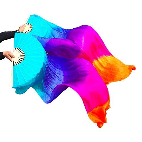 Nimiman 1 Pair(Left+Right) Silk Belly Dance Fan Veil 1.8m Classical Colors((Dark) Blue+Purple+Rose+Orange)