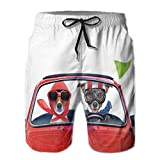 Photo de Men's Sports Beach Shorts Board Shorts,Jack Russell Couple Just Married in A Car for Summer Vacation Honeymoon Theme,Surfing Swimming Trunks Bathing Suits Swimwear,XX-Large par