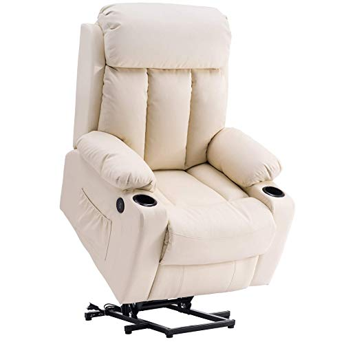 Mcombo Oversized Electric Power Lift Recliner Chair Sofa for Elderly Big and Tall People, 3 Positions, 2 Side Pockets and Cup Holders, USB Ports, Faux Leather 7406 (Cream White) (Renewed)