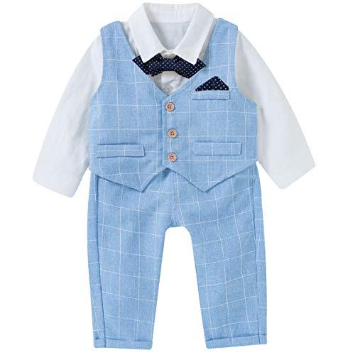 Famuka Baby Jungen Anzüge Sakkos Kinder Smoking Bekleidungsset (Blau 2, 90)
