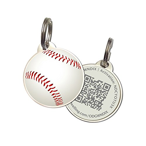 PetDwelling Advanced Baseball QR Code Pet ID Tag Links to Online Profile/Emergency Contact/Medical Info/Google Map Location Stamp