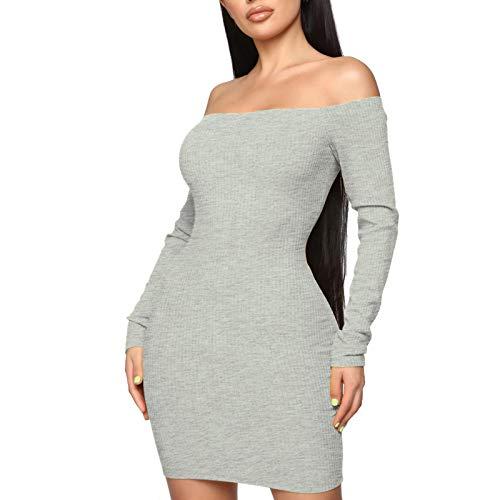 Hanomes Cocktailkleid Damen Fashion Sexy Solid Color Figurbetontes Kleid Schulterfrei Minikleid Wortkragen Abendkleider Partykleid