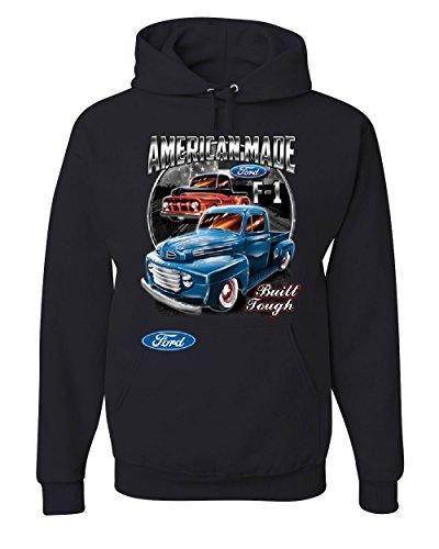 Ford Pickup Trucks F1 Hoodie American Made Hot Rod Built Tough Sweatshirt Black 2XL
