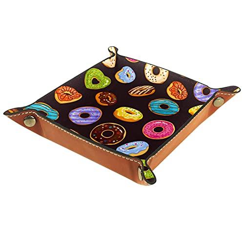 AITAI Bandeja de valet de cuero vegano, organizador de mesita de noche, placa de almacenamiento para escritorio, donuts de chocolate