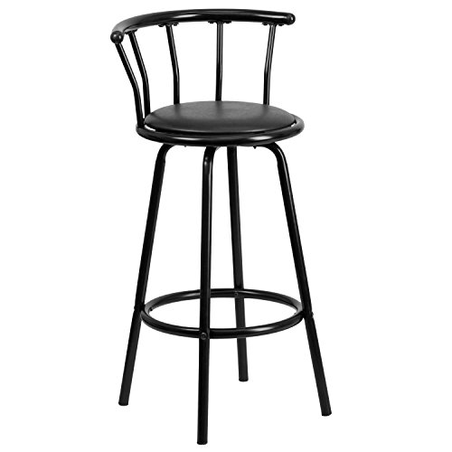 Flash Furniture Crown Back Black Metal Barstool with Black Vinyl Swivel Seat