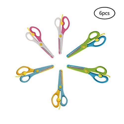 Wenosda 6pcs Tijeras de Seguridad artesanía Bricolaje Juguetes de Tijera Segura con Primavera para niños/niño/Niñito//Estudiante/Maestro/Preescolar artesanía de formación (3 Colores, Paquete de 6)