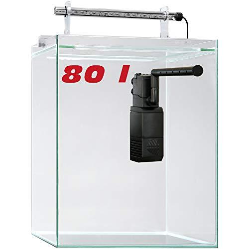sera 32368 Scaper Cube 80 l Startset modernes Nano Glas Aquarium mit LED-Beleuchtung und Filter