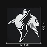 LGLGXR 13.6cmx14.5cmパーソナリティマリン動物ビニールビッグテールフィッシュデカールカーステッカー (Color Name : Silver)