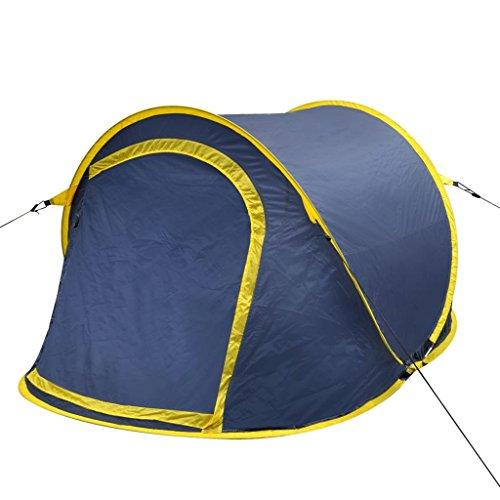 vidaXL Tente de Camping pour 2 Personnes Bleu-Marine/Jaune