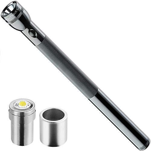 Mag-Lite S6D016 D-Cell Stablampe 49,5 cm für 6 Mono-Batterien Schwarz inklusive LiteXpress LED Upgrade Modul 525 oder 55 Lumen für Maglite Krypton Taschenlampen SET-COMBI-04