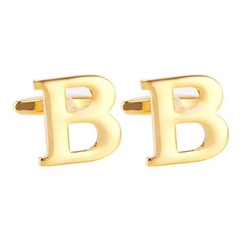 Herrn Manschettenknöpfe Salutto Golden Cufflinks Die Buchstaben Alphabet B Herrn Manschettenknöpfe 1 Paar mit Geschenk Kasten (B)