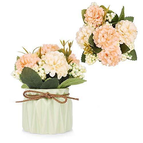 Flores artificiales para decoración de hortensias artificiales con pequeño jarrón de cerámica mini plantas en maceta para...