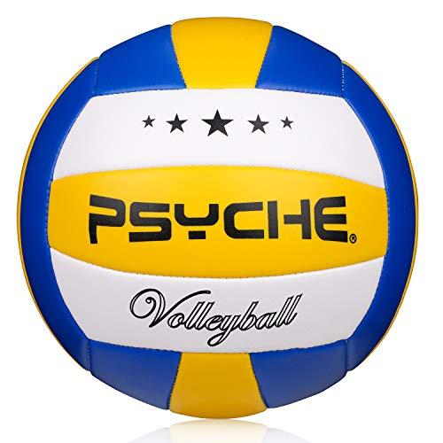 Volleyball Beachvolleyball Soft Touch Volleybälle für Outdoor und Indoor Spiele,offizielle Größe 5 blau-gelb-weiß/2