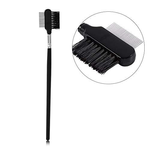 Peigne de brosse de sourcil de cil, outil en métal de maquillage de brosse cosmétique de brosse de double tête réutilisable de poignée de peigne de cil