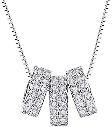 NC110 S925 Colgante de Plata Collar de Tres círculos Combinación de Anillo Collar de círculo de Diamantes con Micro Incrustaciones