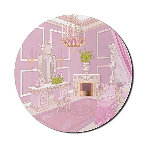 Feminine Mauspad für Computer, Prinzessin Ankleidezimmer Blick in antikem Palast-Design mit Kronleuchter Kamin Druck, runde rutschfeste dicke Gummi Modern Gaming Mousepad, 8 'rund, rosa