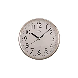 Telesonic Silver Quartz Wall Clock w/Quiet Sweep Second Hand - 10 Inch Round